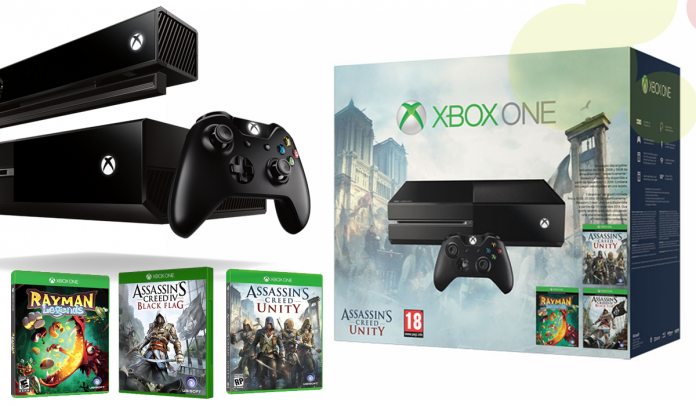Pack XBOX ONE + Joc Assassin's Creed UNITY + Joc Assassin's Creed IV Black Flag + Joc Rayman Legend